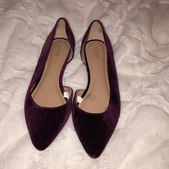 Burgundy Velvet Pointed Toe Flats